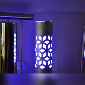 Illuminated LED lights on a laser cut bollard
