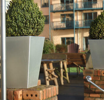 Kent's stainless steel planters at Ferrycarrig hotel in Wexford
