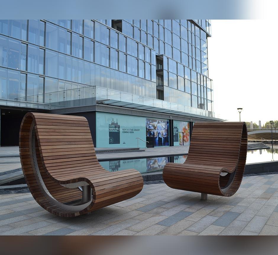 Wooden swivel seat used in public space