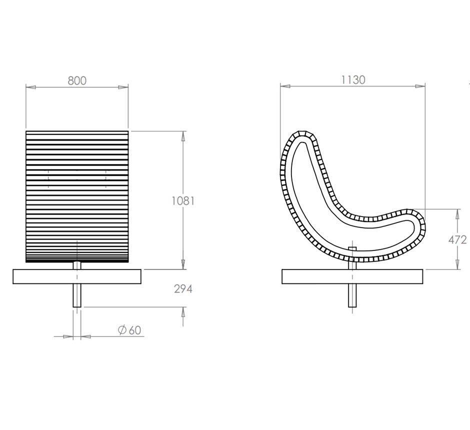Drawings and dimensions of Kents Battersea swivel seat