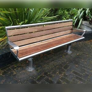 Iroko timber and stainless steel framed bench finish