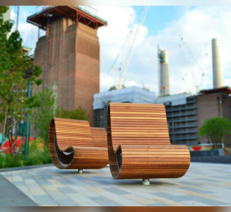 Modern wood finished, kidney shaped outdoor seating