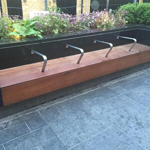 Kents Greenwich mounted bench for outdoor seating