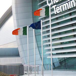Flag poles flying outside Dublin airport