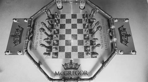 Kent's stainless steel design for Conor McGregor's chess table
