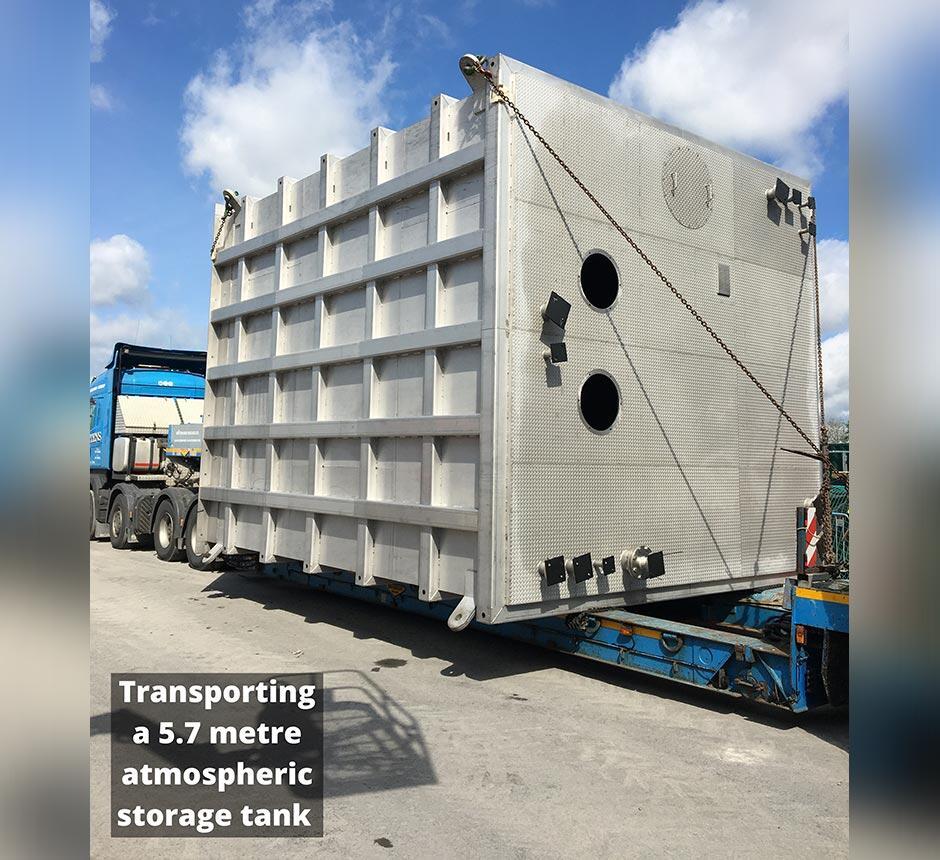 Transporting a 5.7 metre atmospheric storage tank