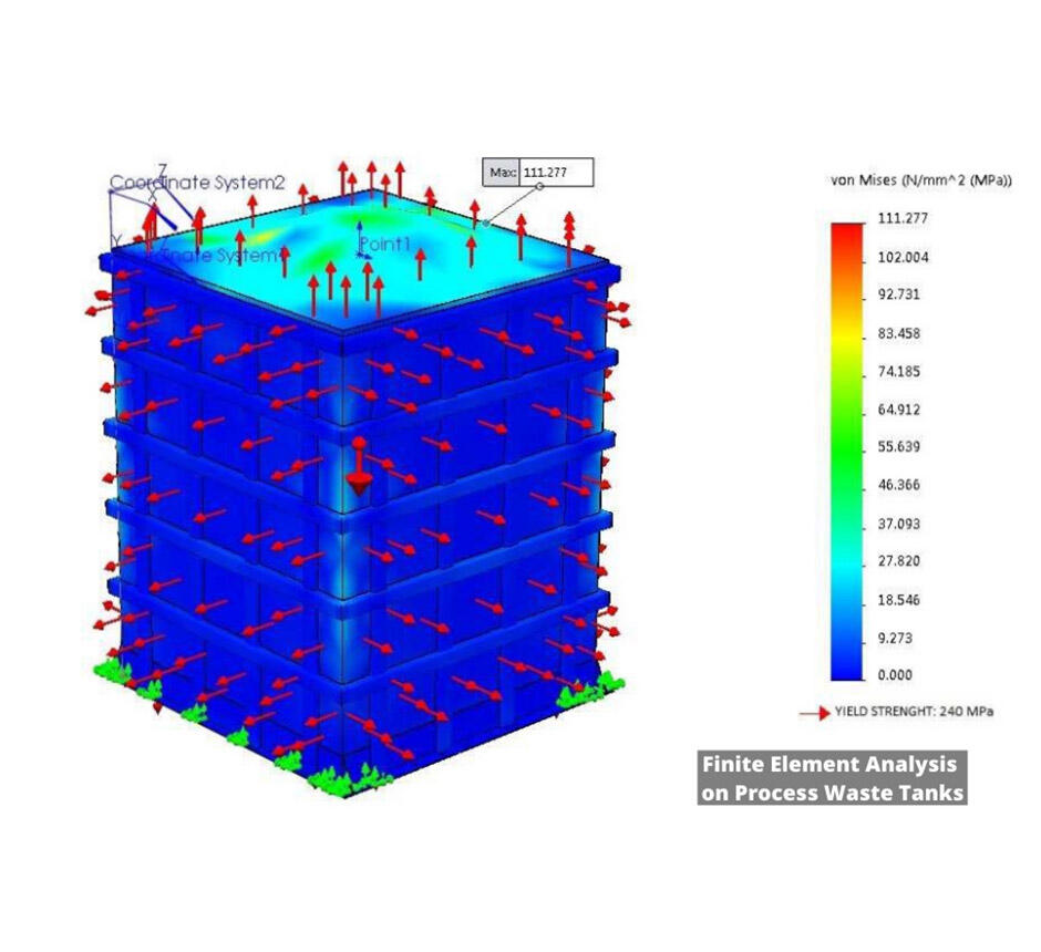 Finite element analysis on process waste tanks