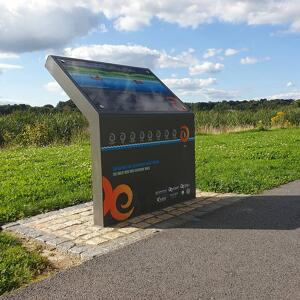 Side view of Kent's wayfinding lectern